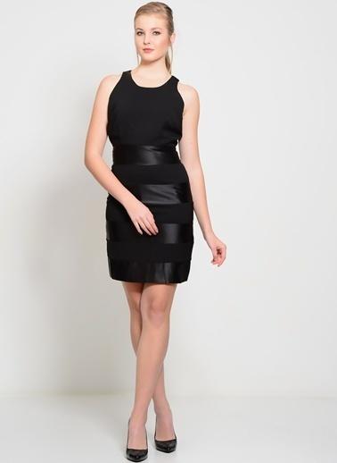 Darling Kolsuz Dar Mini Elbise Siyah